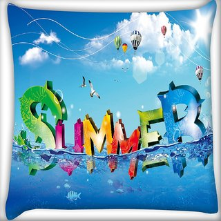 Snoogg Summer Digitally Printed Cushion Cover Pillow 18 x 18 Inch