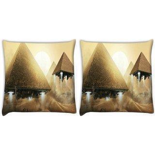 Snoogg Alien Pyramids Digitally Printed Cushion Cover Pillow 22 x 22 Inch