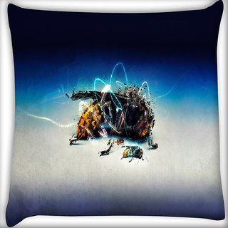 Snoogg Abstract Bee Digitally Printed Cushion Cover Pillow 18 x 18 Inch