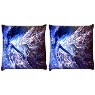 Snoogg Blue Fairy Fantasy Digitally Printed Cushion Cover Pillow 22 x 22 Inch