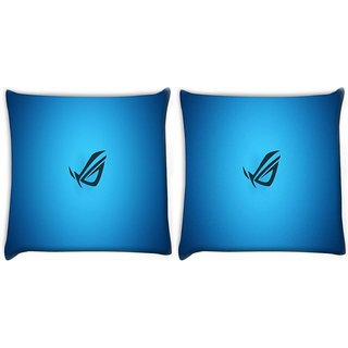 Snoogg Blue Minimalistic Digitally Printed Cushion Cover Pillow 22 x 22 Inch