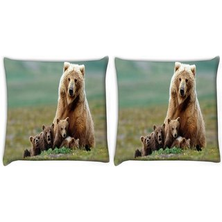 Snoogg Small Babies Of Bear Digitally Printed Cushion Cover Pillow 22 x 22 Inch