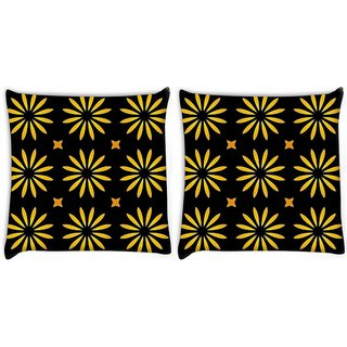 Snoogg Yellow Floral Digitally Printed Cushion Cover Pillow 22 x 22 Inch