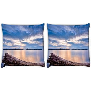 Snoogg Sea And Broken Wood Digitally Printed Cushion Cover Pillow 22 x 22 Inch