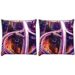 Snoogg City Roads Digitally Printed Cushion Cover Pillow 22 x 22 Inch