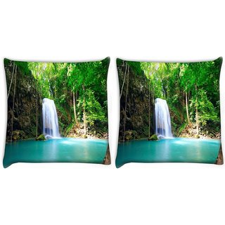 Snoogg Green Waterfall Digitally Printed Cushion Cover Pillow 22 x 22 Inch