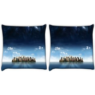 Snoogg City In An Island Digitally Printed Cushion Cover Pillow 22 x 22 Inch