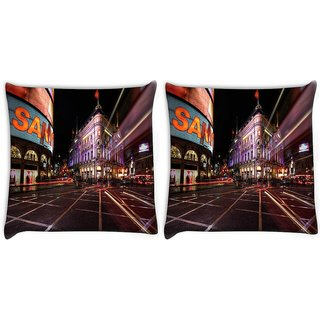 Snoogg New York Street Digitally Printed Cushion Cover Pillow 22 x 22 Inch
