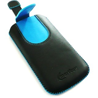 Emartbuy Black / Blue Plain Premium PU Leather Slide in Pouch Case Cover Sleeve Holder ( Size 4XL ) With Pull Tab Mechanism Suitable For Oppo A57 Smartphone