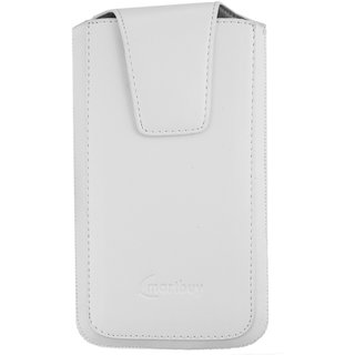 Emartbuy White Sleek Premium PU Leather Slide in Pouch Case Cover Sleeve Holder ( Size 4XL ) With Pull Tab Mechanism Suitable For Oppo A57 Smartphone