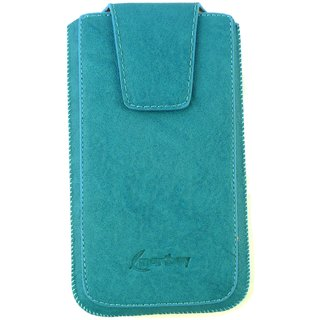 Emartbuy Blue Classic Premium PU Leather Slide in Pouch Case Cover Sleeve Holder ( Size 5XL ) With Pull Tab Mechanism Suitable For Klipad KL48PH 3G 6 Inch Smartphone