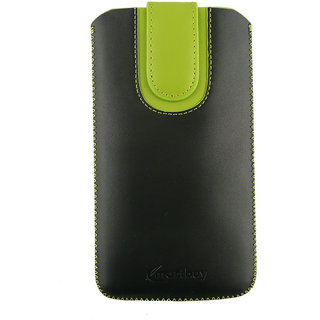 Emartbuy Black / Green Plain Premium PU Leather Slide in Pouch Case Cover Sleeve Holder ( Size LM4 ) With Pull Tab Mechanism Suitable For Senseit E510 Smartphone