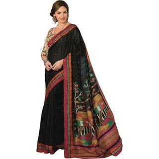 Yuvanika Multicolor Printed Bhagalpuri Silk Saree with Blouse-VIS11913