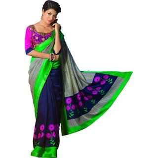 Yuvanika Multicolor Printed Bhagalpuri Silk Saree with Blouse-VIS11956