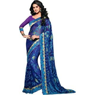 Yuvanika Multicolor Printed Bhagalpuri Silk Saree with Blouse-VIS2970