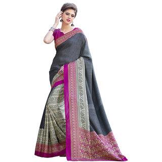 Yuvanika Multicolor Printed Bhagalpuri Silk Saree with Blouse-Fb9601A
