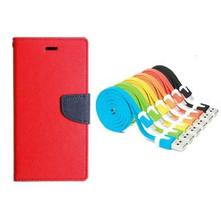 WALLET FLIP CASE COVER FANCY DIARY FLIP CASE COVER For Micromax Canvas Fire A104 RED WITH USB SIMILY DATA CABLE
