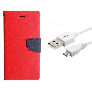 WALLET FLIP CASE COVER FANCY DIARY FLIP CASE COVER For Micromax Canvas Pep Q371 RED WITH USB CABLE