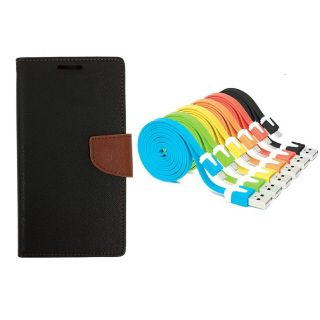 WALLET FLIP CASE COVER FANCY DIARY FLIP CASE COVER For Lenovo A5000 BROWN WITH USB SIMILY DATA CABLE