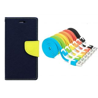 WALLET FLIP CASE COVER FANCY DIARY FLIP CASE COVER For Micromax Canvas Doodle 4 Q391 BLUE WITH USB SIMILY DATA CABLE