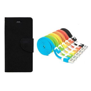 WALLET FLIP CASE COVER FANCY DIARY FLIP CASE COVER For Nokia Lumia 520 BLACK WITH USB SIMILY DATA CABLE