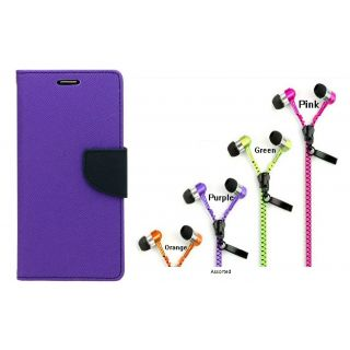 WALLET FLIP CASE COVER FANCY DIARY FLIP CASE COVER For Samsung Galaxy S Duos S7562 PURPLE WITH ZIPPER EARPHONE