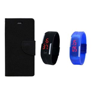 WALLET FLIP CASE COVER FANCY DIARY FLIP CASE COVER For Micromax Bolt Q336 BLACK WITH DIGITAL WATCH