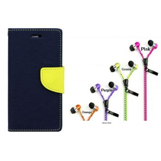 WALLET FLIP CASE COVER FANCY DIARY FLIP CASE COVER For Micromax Bolt Q338 BLUE WITH ZIPPER EARPHONE