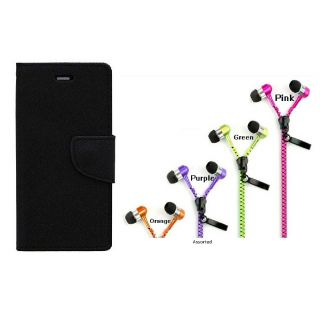 WALLET FLIP CASE COVER FANCY DIARY FLIP CASE COVER For Samsung Galaxy Note N7000 BLACK WITH ZIPPER EARPHONE