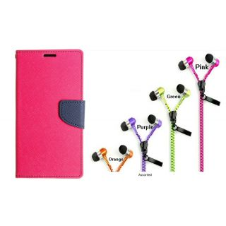 WALLET FLIP CASE COVER FANCY DIARY FLIP CASE COVER For Nokia Lumia 530 PINK WITH ZIPPER EARPHONE