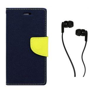 WALLET FLIP CASE COVER FANCY DIARY FLIP CASE COVER For Motorola Moto E2 (2nd gen) BLUE WITH EARPHONE