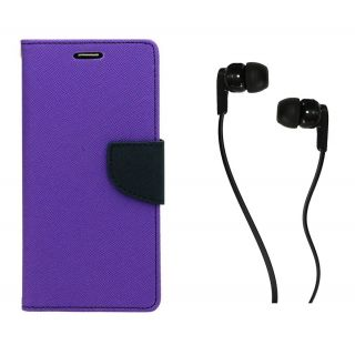 WALLET FLIP CASE COVER FANCY DIARY FLIP CASE COVER For Nokia Lumia 1320 PURPLE WITH EARPHONE