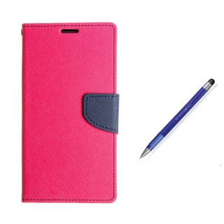 WALLET FLIP CASE COVER FANCY DIARY FLIP CASE COVER For Micromax YU Yuphoria AQ5010 PINK WITH STYLUS PEN
