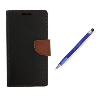 WALLET FLIP CASE COVER FANCY DIARY FLIP CASE COVER For Nokia X2 BROWN WITH STYLUS PEN