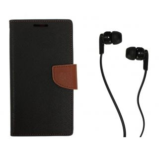 WALLET FLIP CASE COVER FANCY DIARY FLIP CASE COVER For Micromax Canvas Gold A300 BROWN WITH EARPHONE