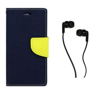 WALLET FLIP CASE COVER FANCY DIARY FLIP CASE COVER For Samsung Galaxy On5 BLUE WITH EARPHONE