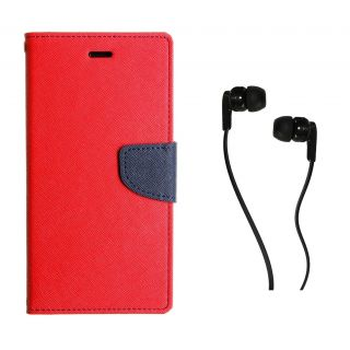 WALLET FLIP CASE COVER FANCY DIARY FLIP CASE COVER For Samsung Galaxy Core I8260 RED WITH EARPHONE