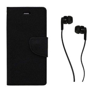 WALLET FLIP CASE COVER FANCY DIARY FLIP CASE COVER For Micromax Canvas Spark 2 Q334 BLACK WITH EARPHONE