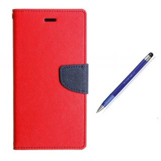 WALLET FLIP CASE COVER FANCY DIARY FLIP CASE COVER For Micromax Canvas A1 RED WITH STYLUS PEN