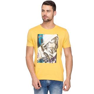 Spykar Yellow Casual T-Shirt For Men