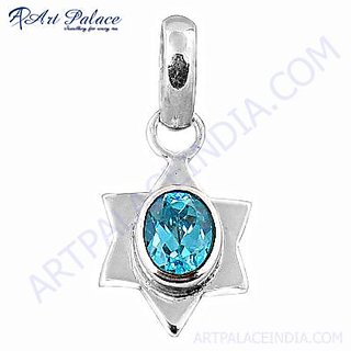Excellent New Fashion & New Shiney Blue Cubic Zirconia Silver Pendant