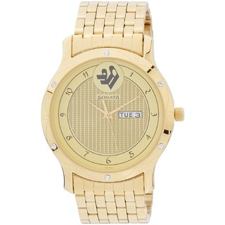 Sonata Round Dial Gold Analog Watch For Men -7107YM02