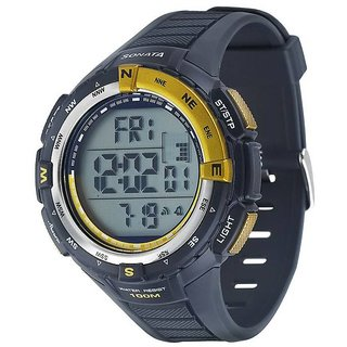 Sonata Round Dial Gold Digital Watch For Men -77013PP02