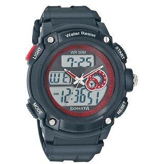 Sonata Round Dial Black Digital Watch For Men -7989PP03