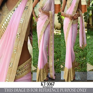 Edeal Online pink and golden georgette bollywood saree