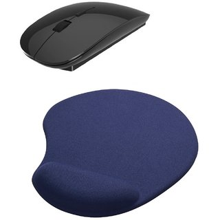 2.4Ghz Slim Silent Wireless Mouse Mousepad Combo(BLACK)