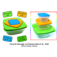 Food & Storage Containers ( Set Of 3 ) ( 200 Ml / 500 Ml / 1000 Ml )