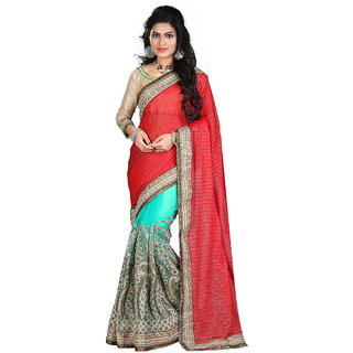 Surat Tex Turquoise  Red Color Lycra  Net Embroidered Party Wear Saree with Blouse Piece-J761SEKT-3039-D