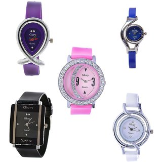 Glory Combo of 5 Diamond Studded Multi Color Women Analog Watches by SPORTS ONLINE