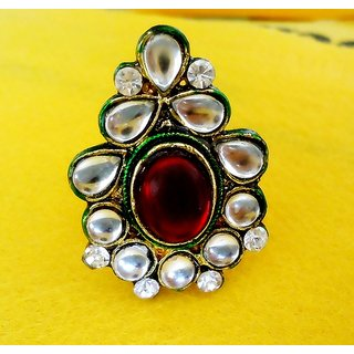DESIGNER ADJUSTABLE  KUNDAN RING WITH ENAMEL WORK  FITS ALL